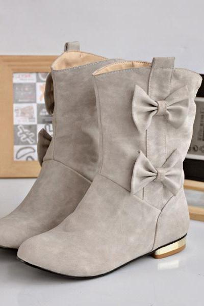 Cute Bowknot Casual Round Head Women's Boots