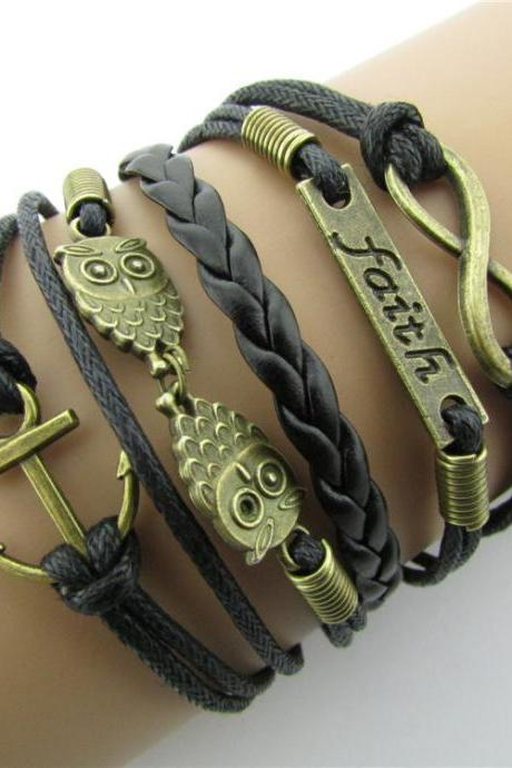 Beautiful Owl Anchor Hand-made Leather Cord Bracelet