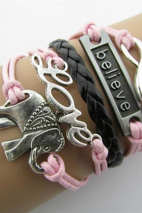 Elephant 8 LOVE Multielement Colored Fashion Bracelets