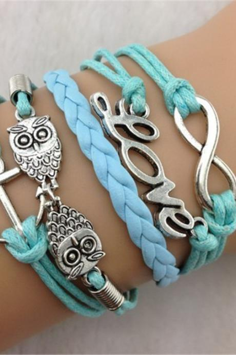 Personality Anchor Owl Multielement Bracelet