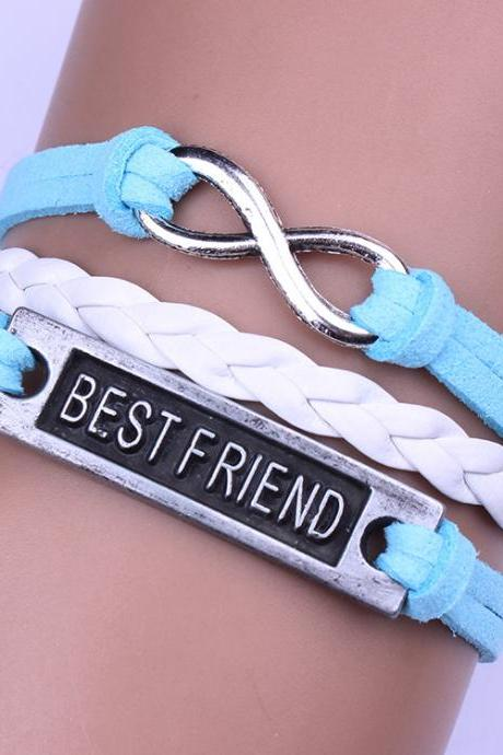 BEST FRIEND Leather Cord Woven Friendship Bracelet