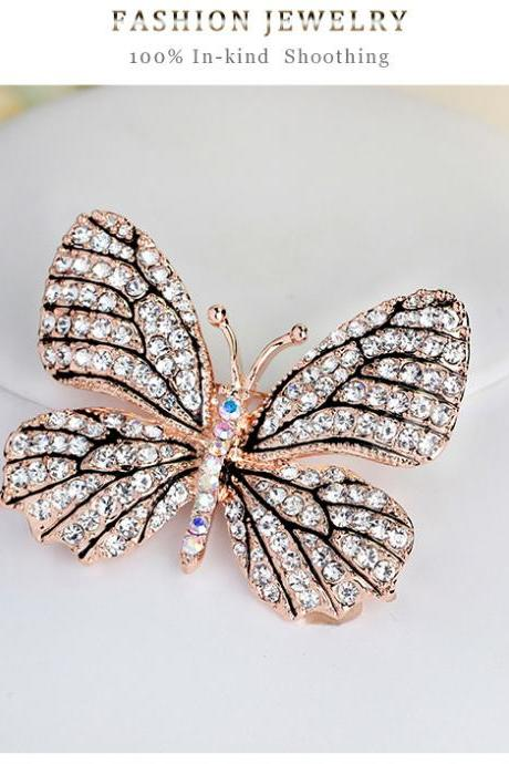 High-grade butterfly full diamond brooch