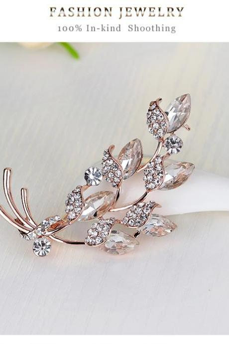 Korean fashion White Rhinestone Brooch glass leaves