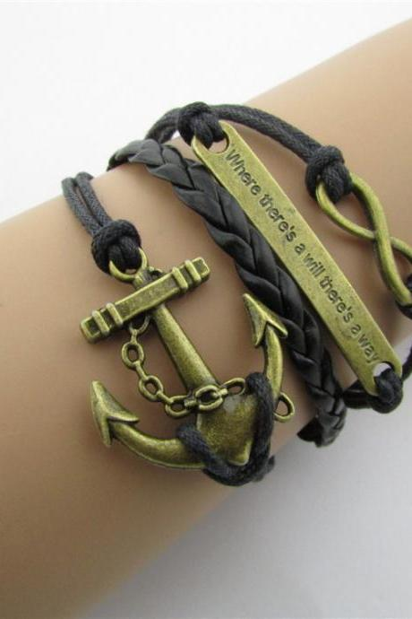 Vintage Anchor Eight Handmade Leather Christmas Bracelet