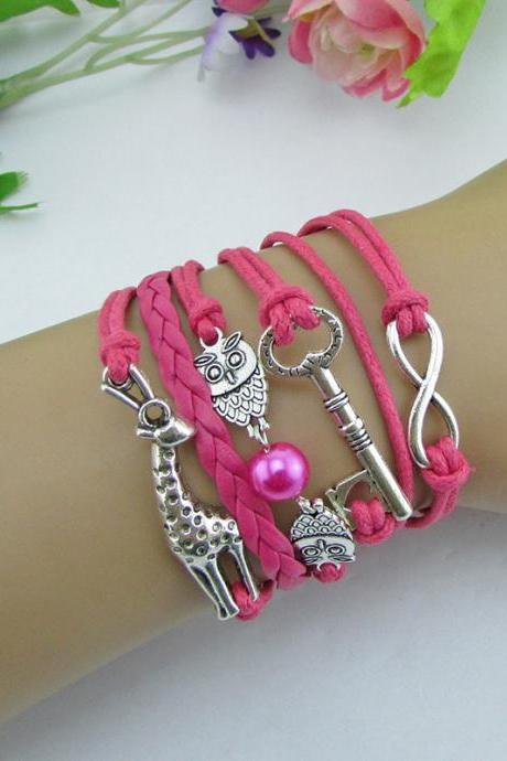 Giraffe Key Owl Pearl Leather Cord Woven Bracelet