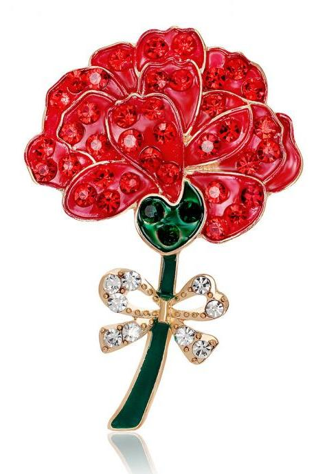 Retro Diamond Red Rose Brooch