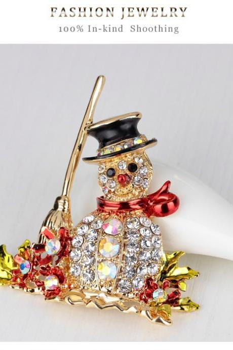 High-grade diamond Snowman Brooch