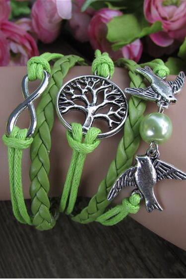 Beautiful Dove Tree of life Woven Bracelet