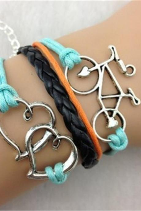 Double Heart Bicycle Multilayer Fashion Leather Bracelet