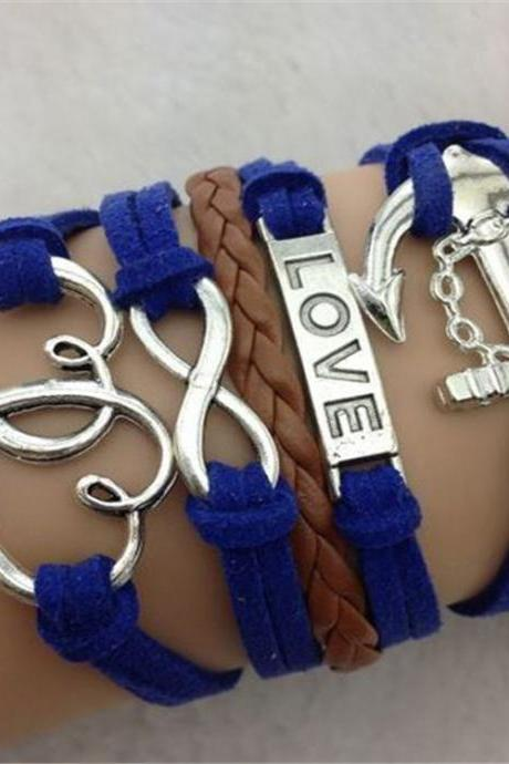 Love Heart Anchor Multilayer Woven Bracelet