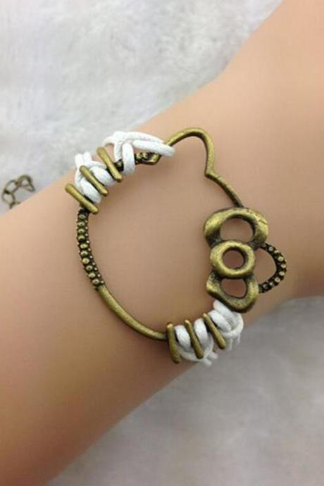 Cute Kitty Hand-made Leather Cord Bracelet