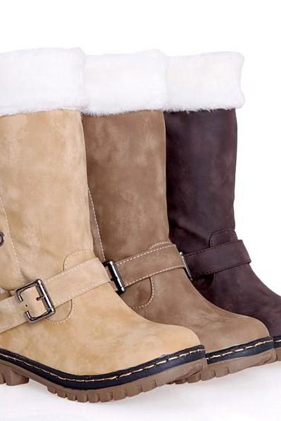 Cross Belt Buckle Patchwork Snow Boots