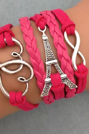 Eiffel Tower Heart Wax String Woven Bracelet