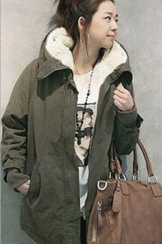Hooded Long Sleeves Slim Drawstring Thick Cotton Coat