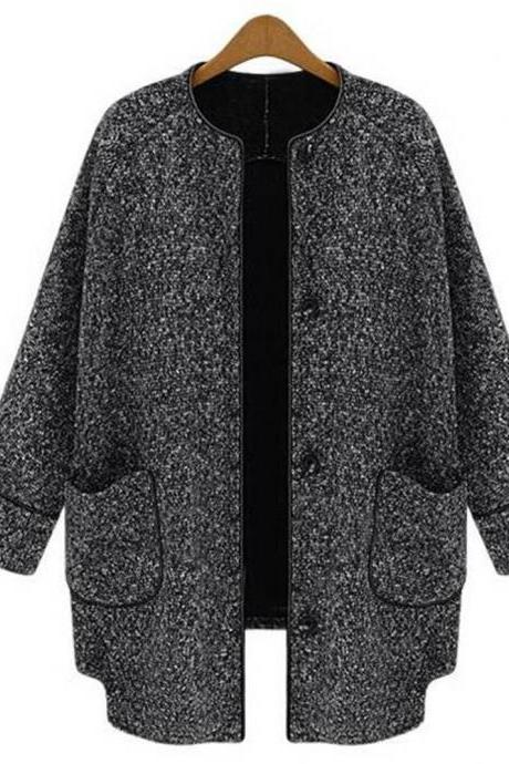 Scoop Long Sleeves Loose Long Wool Coat
