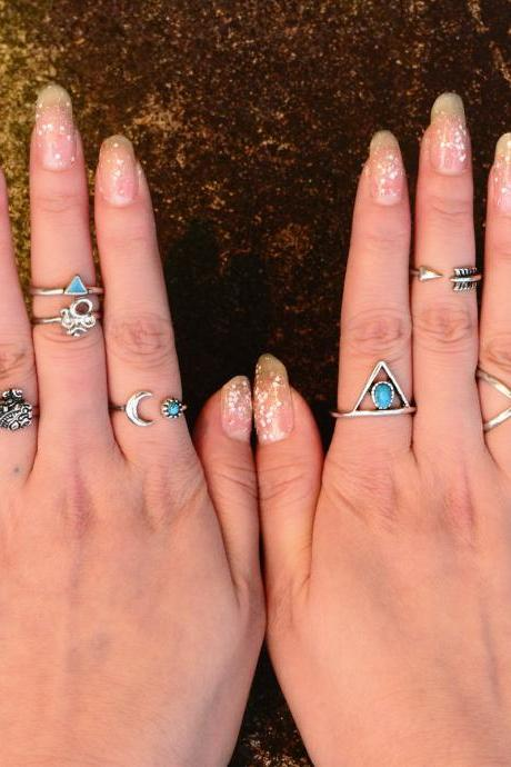 Personality Gypsy Elephant 3D Triangle Combination Ring