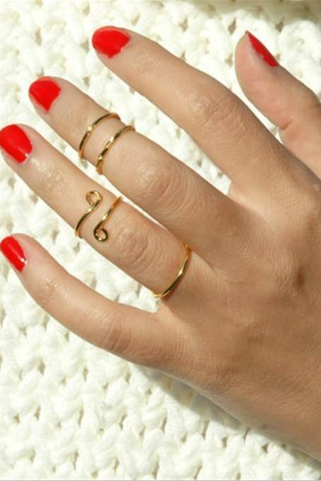 Smooth Metal Manual Twist Multilayer Ring