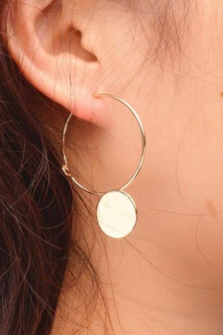 Korean Style Geometric Wafer Circle Earrings