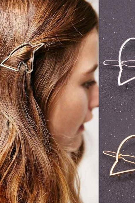 Minimalist Geometric Open Unicorn Shaped Hair Pin - Gold / Silver