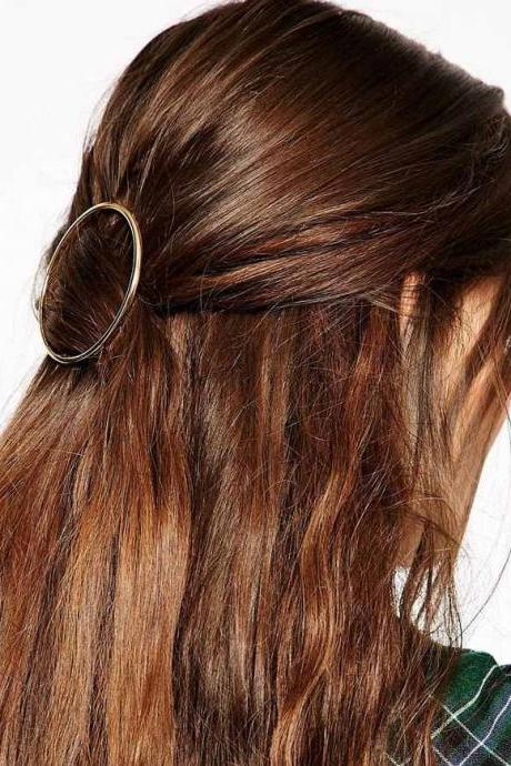 Simple Geometric Metal Ring Hair Clips