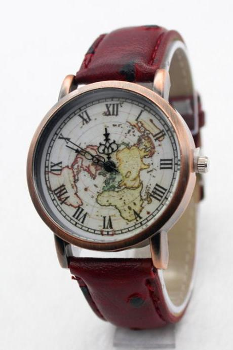 Hot Style Fake Ostrich Strap Map Watch