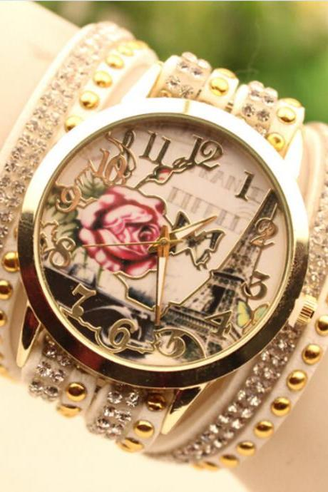 Flower Car Pattern Lady's Watch