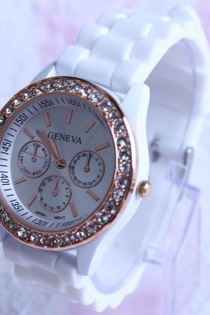 Casual Style Silica Gel Three Eyes Watch