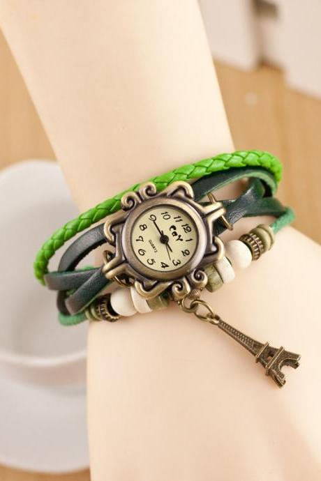 Retro Tower Pendant Woven Bracelet Watch
