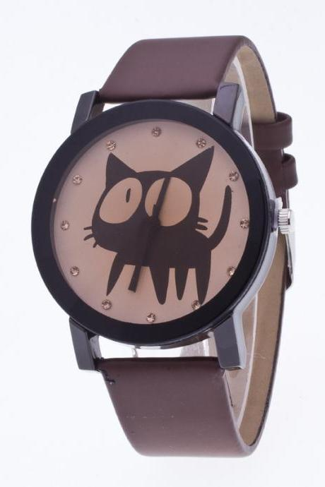 Sweet Cat Pattern Leather Watch