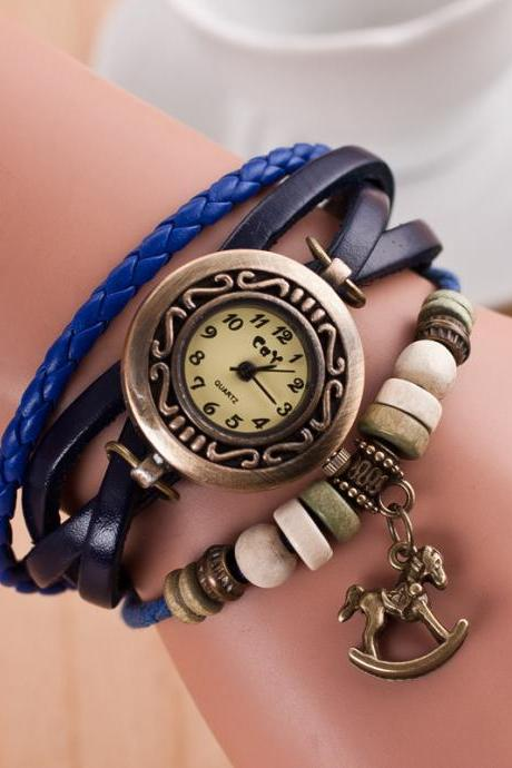 Wooden Horse Woven Bracelet Watch