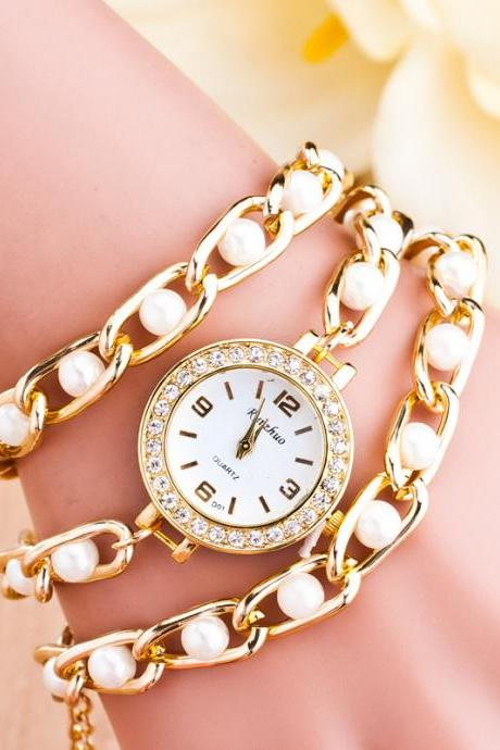 Korea Style Alloy Pearl Beads Bracelet Watch