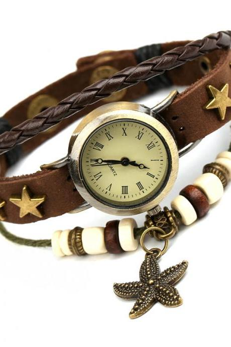 Retro Star Leather Woven Bracelet Watch