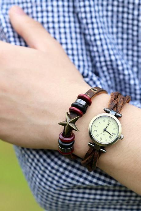 Retro Woven Star Beaded Bracelet Watch