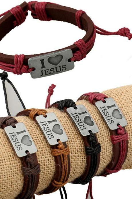 I Love Jesus Alloy Leather Bracelet Set