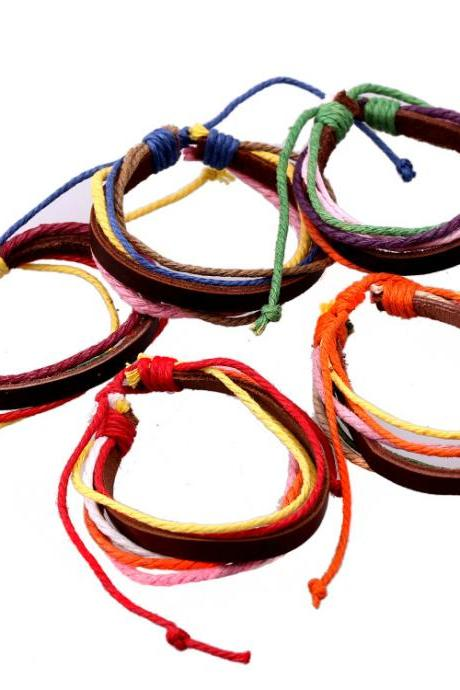 Multicolor Woven Leather Bracelet