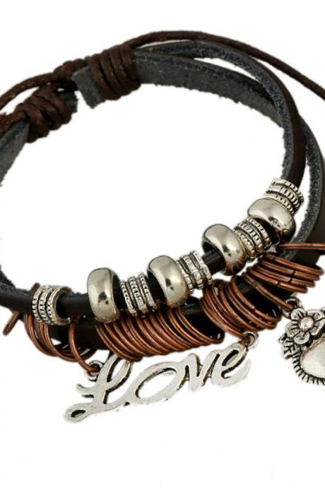 Love Heart Beaded Leather Bracelet