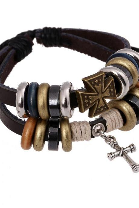 Cross Beaded Multilayer Leather Bracelet