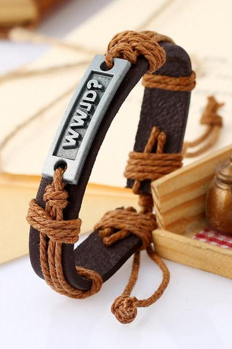Retro Woven Leather Letters Bracelet