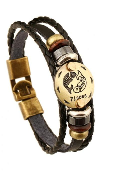 Pisces Constellation Leather Bracelet
