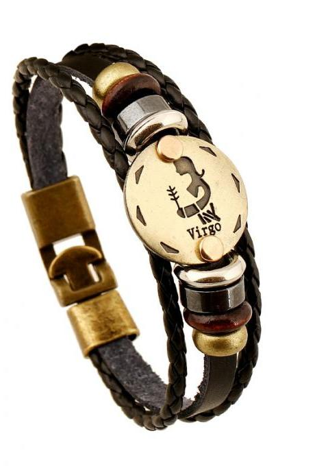 Virgo Constellation Leather Bracelet