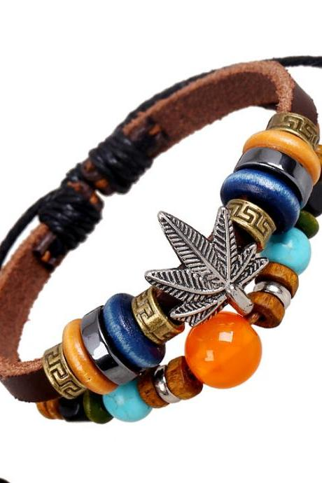 Maple Leaf Beaded Leather Bracelet