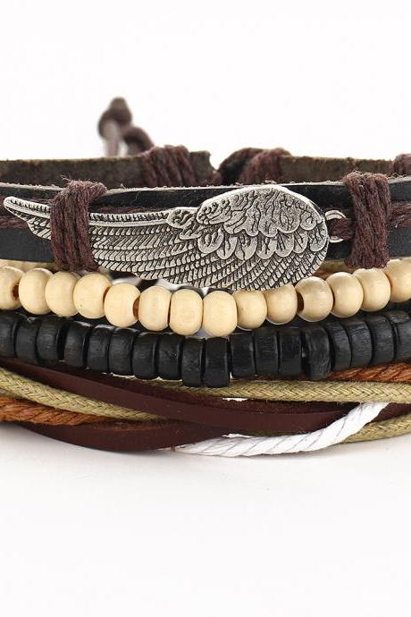 Retro Personality Wing Beaded Multilayer Bracelet
