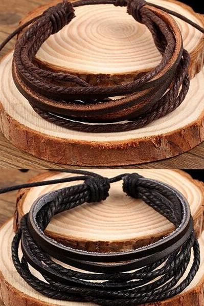 Multilayer DIY Leather Bracelet