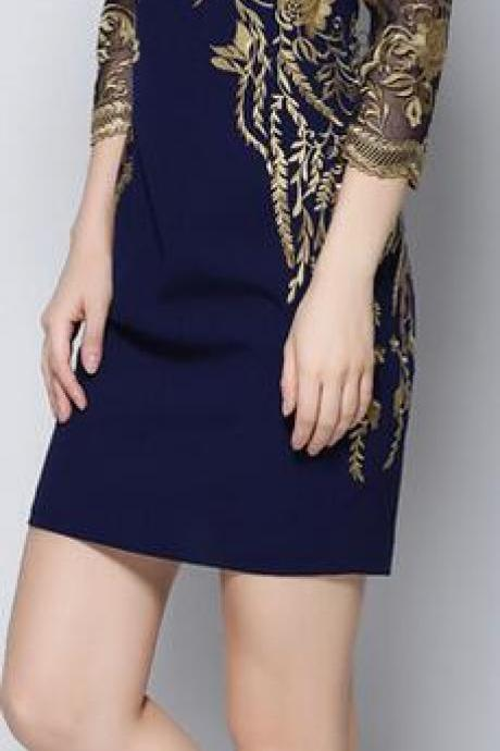 Golden Thread Embroidery Lace Short Dress
