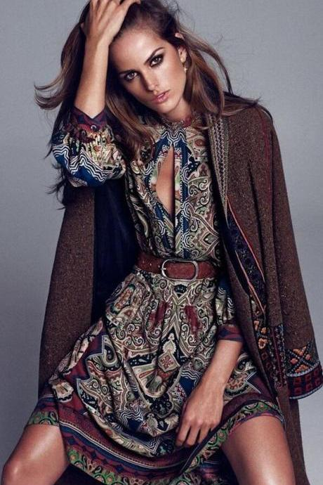 Bohemian Style Chiffon Print Long Dress
