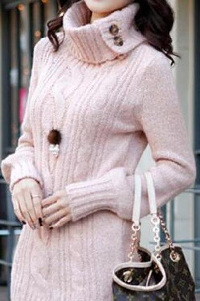 Fashion Lapel Twist Braid Long Sweater