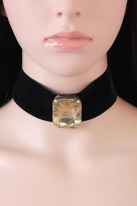 Statement Jewel Crystal Velvet Choker Necklace