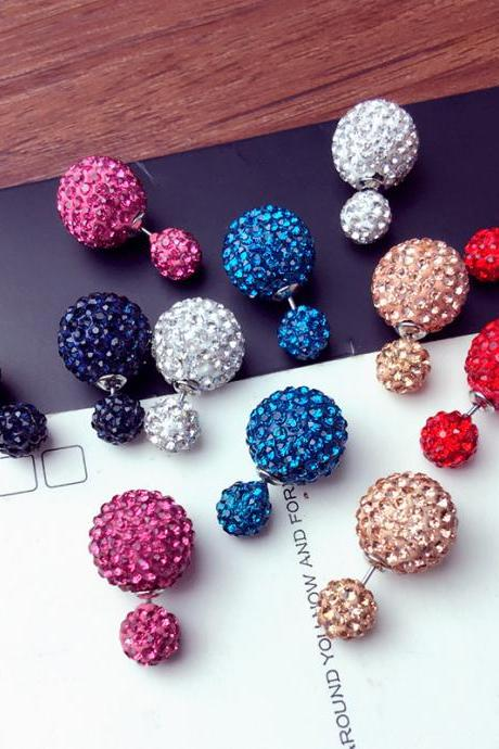 Double Studded Round Ball Earring with Crystals