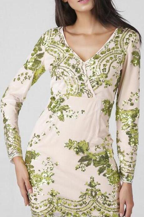V-Neckline Long Sleeve Dress with Green Sequin Embroidery