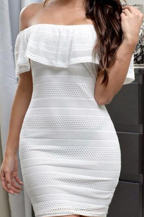 White/Black Off-Shoulder Bodycon Dress